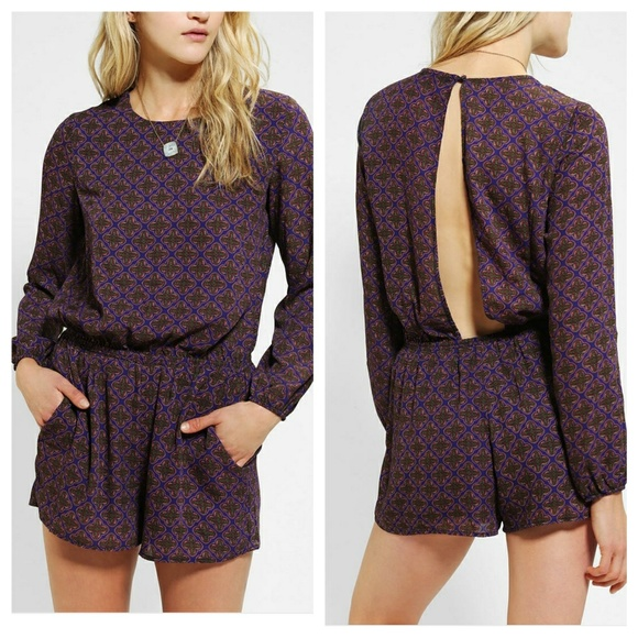 8a861a8149b0 Lucca Couture Silky Open-back long sleeve romper